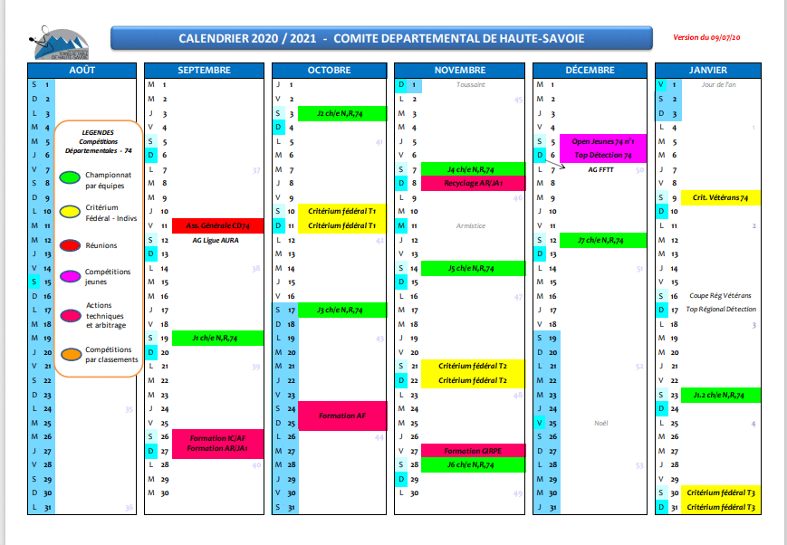 Calendrier CD 74 2020/2021 | TTC Rumilly